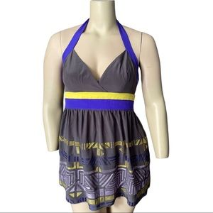 Marciano Silk Embroidered Halter Top Size Large